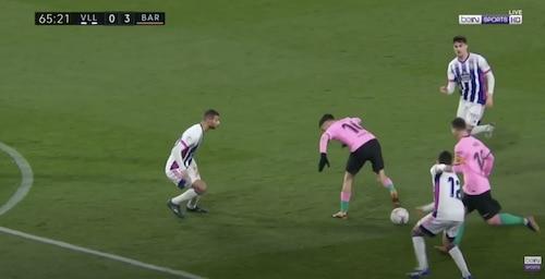 Pedri Back Heel Pass to Messi