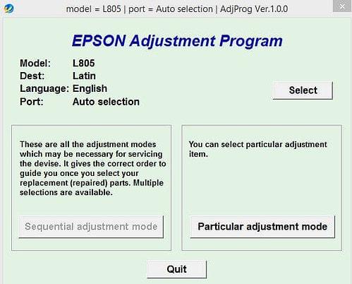 Resetter Epson L805 Download Gratis