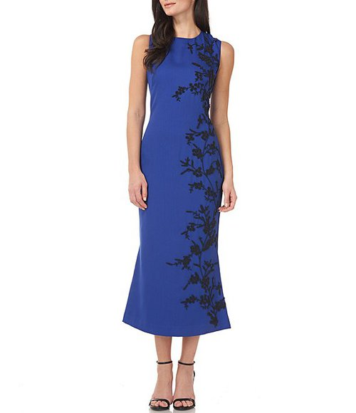 Mother of the bride outfits - JS Collections floral bead appliqué midi dress | 40plusstyle.com