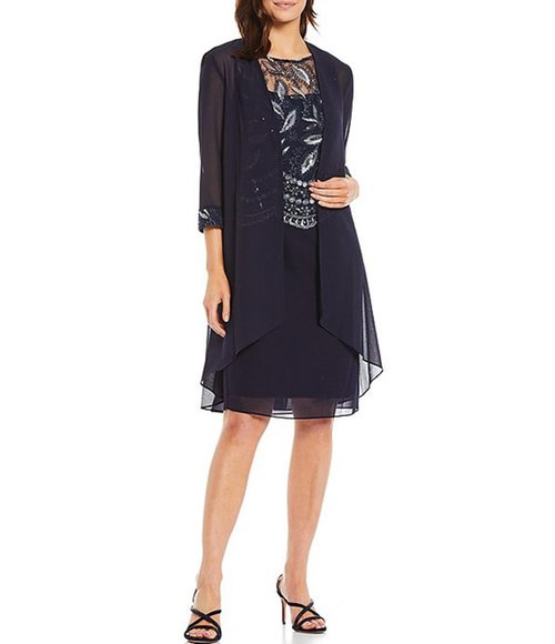 Le Bos embroidered 2-piece jacket dress | 40plusstyle.com