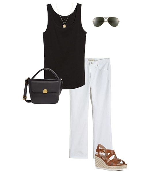 Jennifer Aniston inspired outfit with tank top and white jeans | 40plusstyle.com