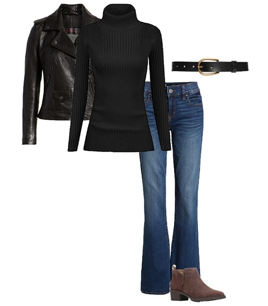 Jennifer Aniston moto jacket and bootcut jeans outfit inspiration | 40plusstyle.com