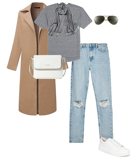 Jennifer Aniston style - coat and ripped jeans | 40plusstyle.com