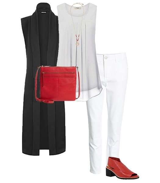 Long cardigan outfit idea to hide your tummy   40plusstyle.com