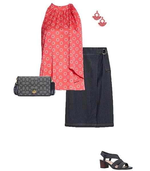 Denim skirt and blouse outfit | 40plusstyle.com