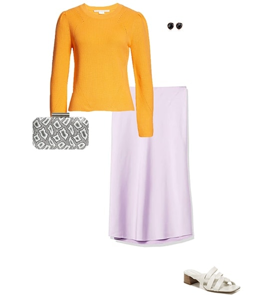 Orange sweater and purple skirt | 40plusstyle.com