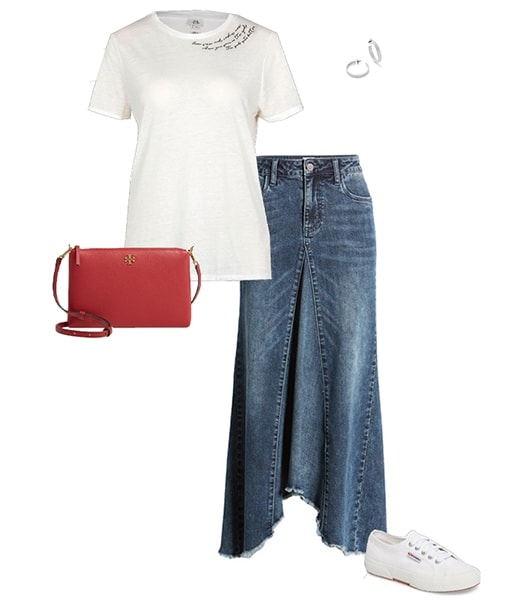 Denim skirt and sneakers outfit | 40plusstyle.com