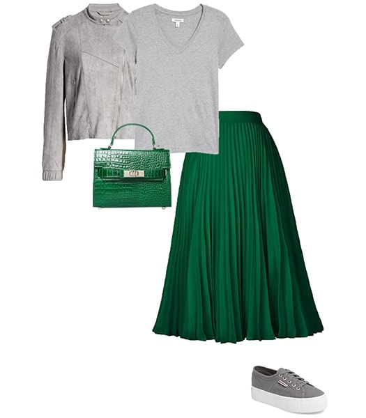 Outfit combining gray with green   40plusstyle.com