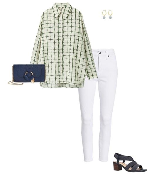 Camisa oversize con jeans ajustados |  40plusstyle.com
