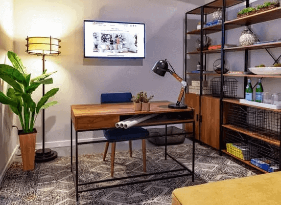 GIANT HUTCH INSTALLED IN THE WALL AND SMALL HOME OFFICE FURNITURE SETS