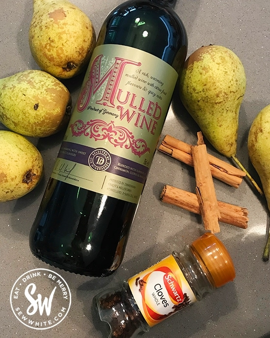 Ingredients laid out for the Mulled Wine Pears