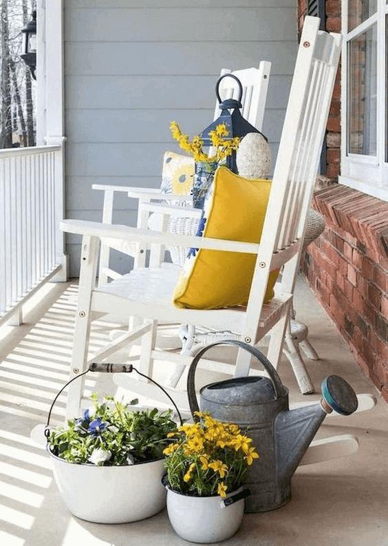 DOOR PORCH WITH FLOWER CORNER DECOR IDEAS