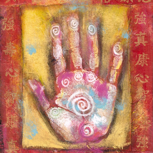 Chinese energy hand, abstract painting with Chinese characters.