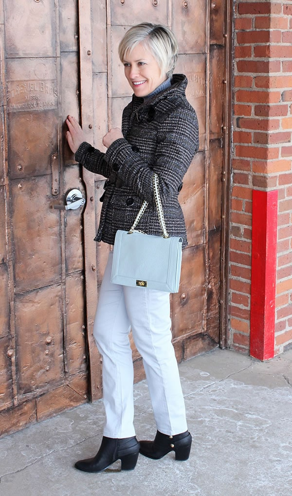 Ann wearing baby blue pants with grey checkered jacket   40PlusStyle.com