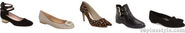 A capsule wardrobe for fall featuring tan shades: animal print shoes and black heels  40plusstyle.com