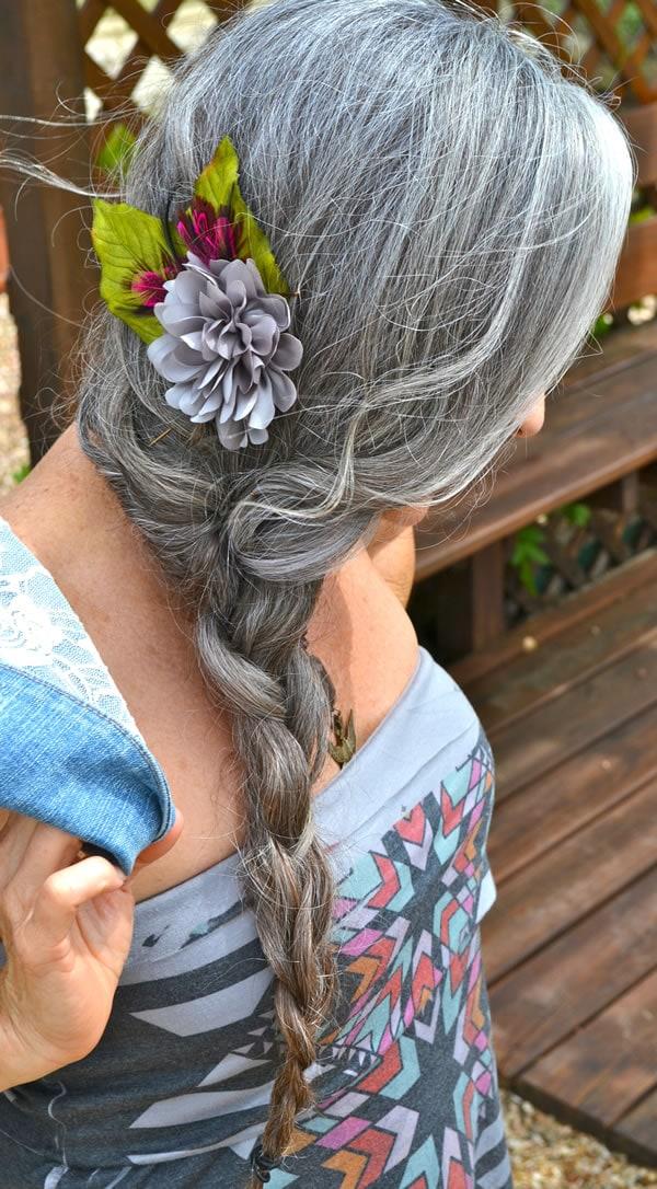 long gray hair in a braid   40plusstyle.com