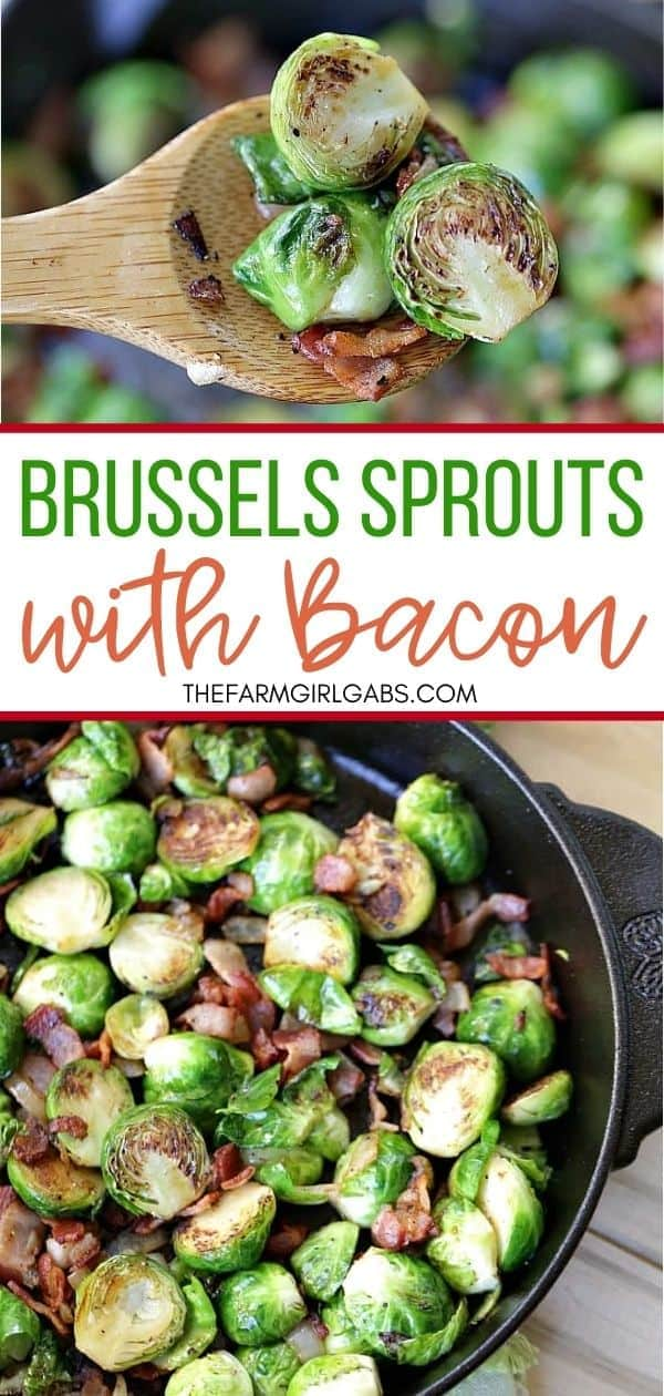 Pan-Seared Brussels Sprouts With Bacon is a super easy side dish ready in 30 minutes flat! These sauteed brussels sprouts are crispy and full of delicious bacon.  This easy brussels sprouts recipe is an easy holiday side dish too. No one will complain about eating their vegetables!