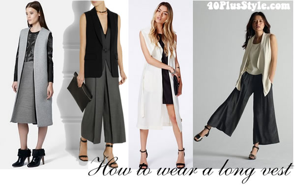 how you can wear the long vest with skirts or wide pants | 40plusstyle.com