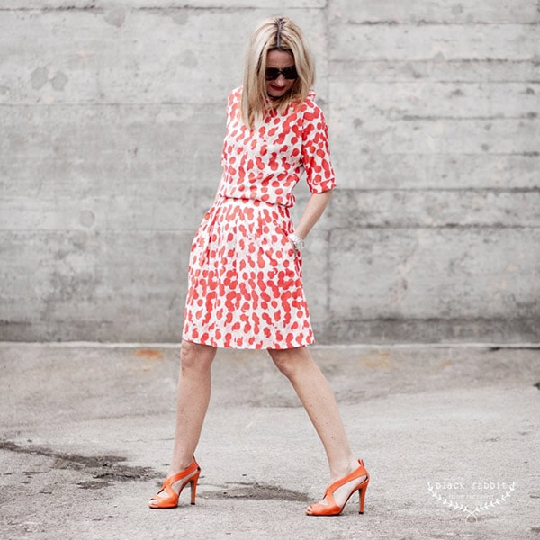 Vibrant fashion: red patterned dress | 40plusstyle.com
