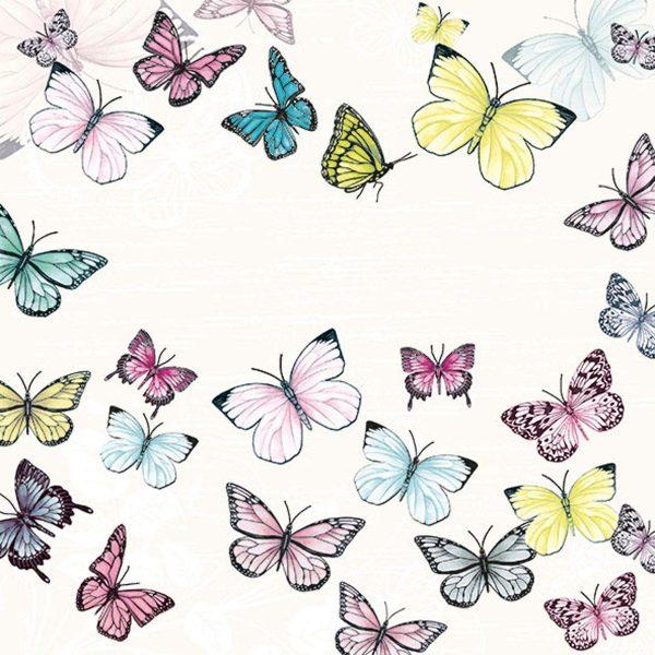 Ambiente servetten Butterfly Wit