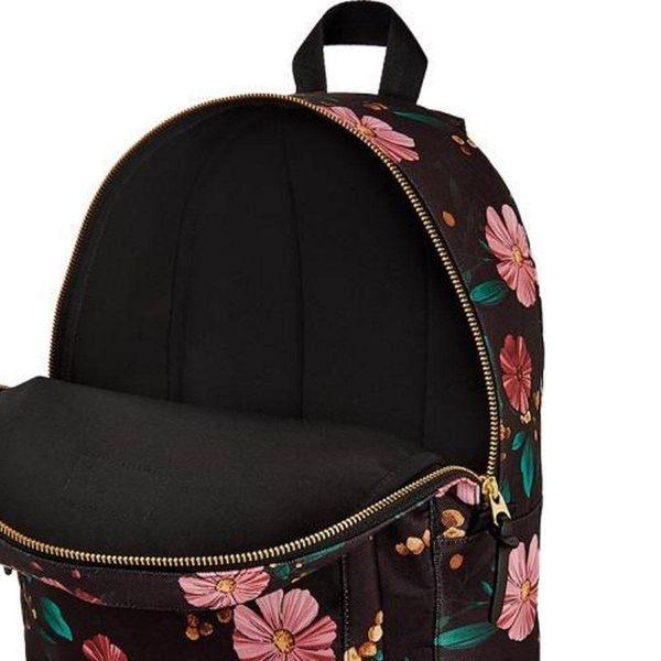 Black Flowers Backpack opening
