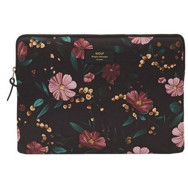 Wouf Black Flowers Laptophoes 13 inch