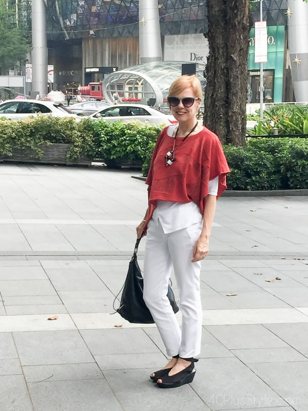 Sylvia wearing a red and white outfit | 40plusstyle.com