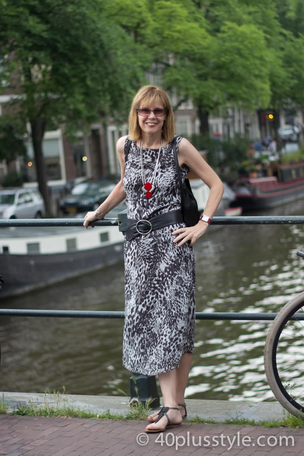 Black and white dress in animal print | 40plusstyle.com