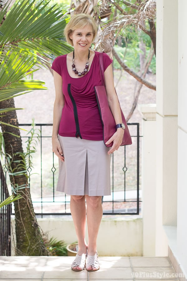 wearing a pink skirt and dark fuchsia top - How to wear pastels   40PlusStyle.com