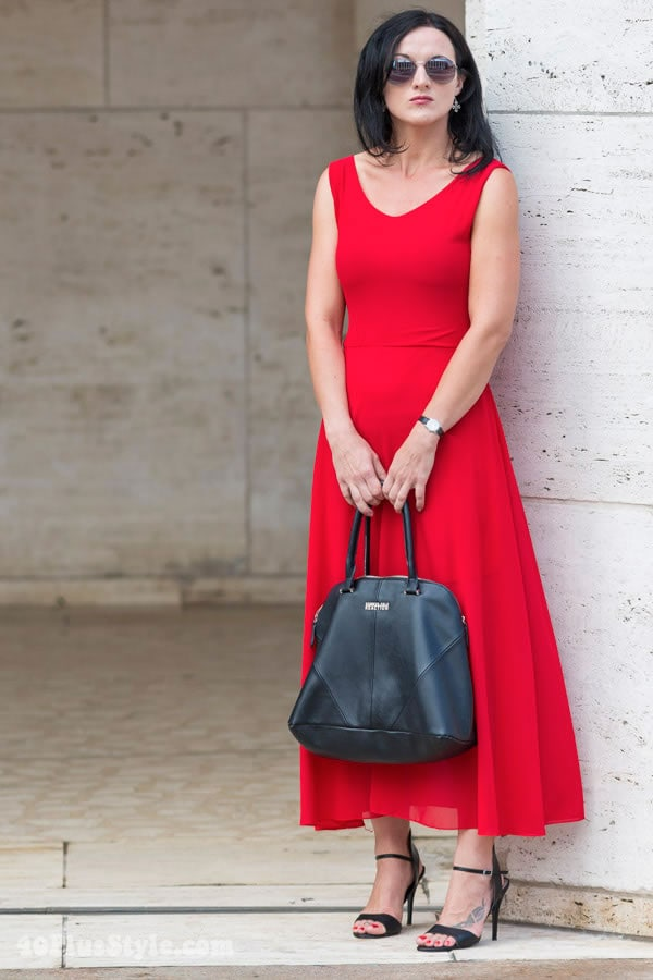 Wearing a red A-line dress | 40plusstyle.com
