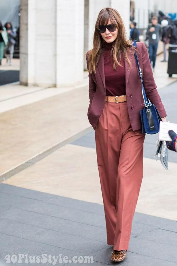 Wearing burgundy with orange | 40plusstyle.com