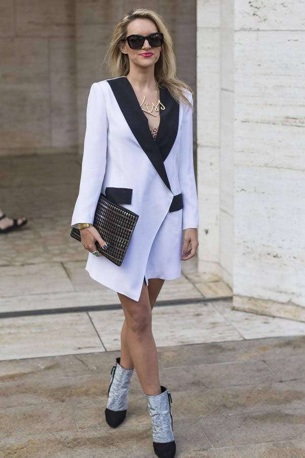 A black and white blazer worn as a dress | 40plusstyle.com