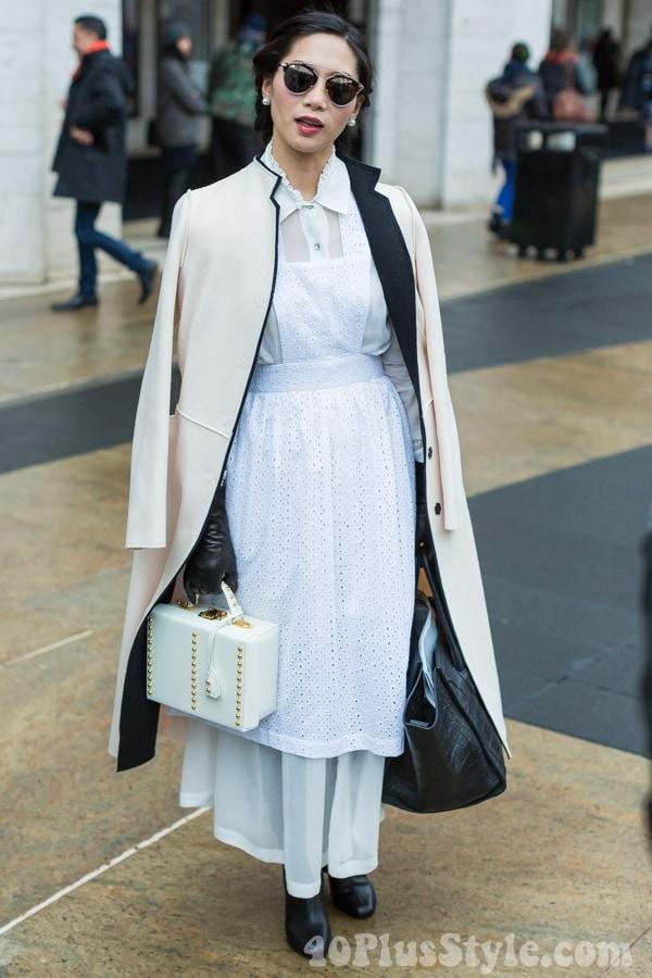 White Coat Utilitarian Modern | 40plusstyle.com
