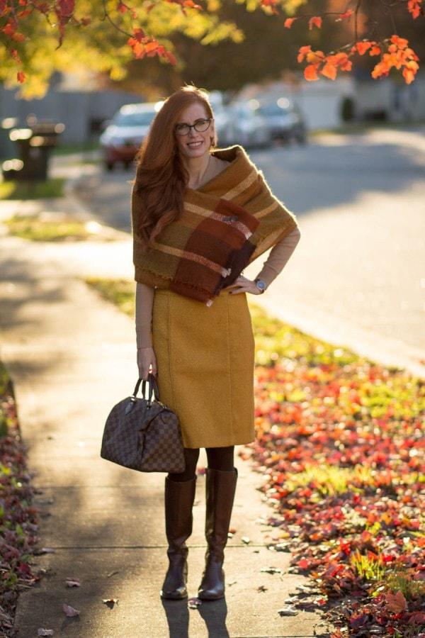 Mustard Skirt | 40plusstyle.com