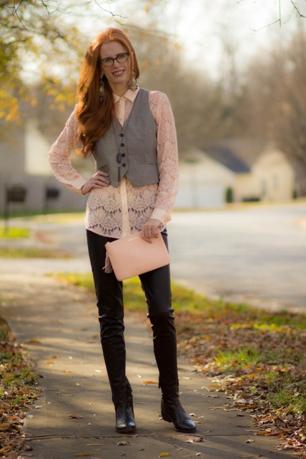 Pink Lace Top Gray Vest Leather Leggings | 40plusstyle.com