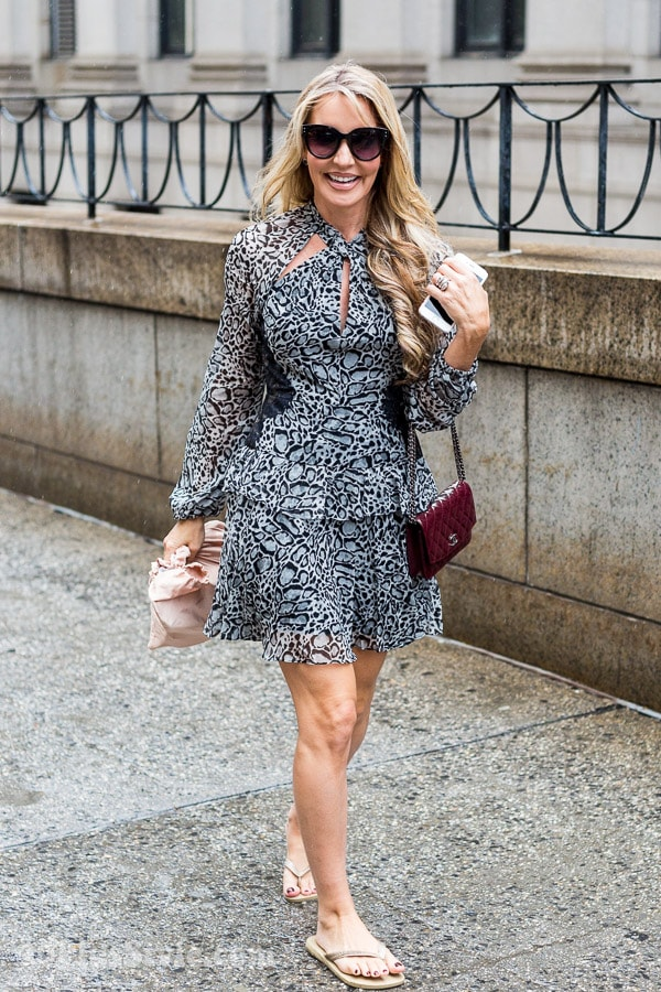 Black and white outfit inspiration: Animal print dress | 40plusstyle.com