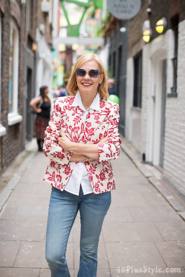 Outfit idea: A chic floral jacket with jeans. | 40plusstyle.com
