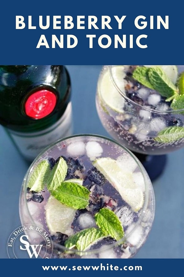blueberry gin and tonic pinterest pin top view of the cocktail with mint leaves and lime