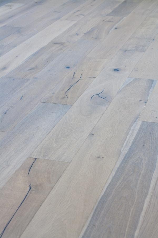 Brushed white oak wide plank wood floors