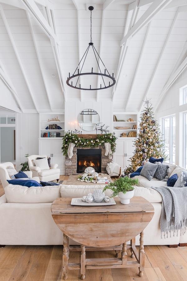 Silver and Grey Christmas living room decor