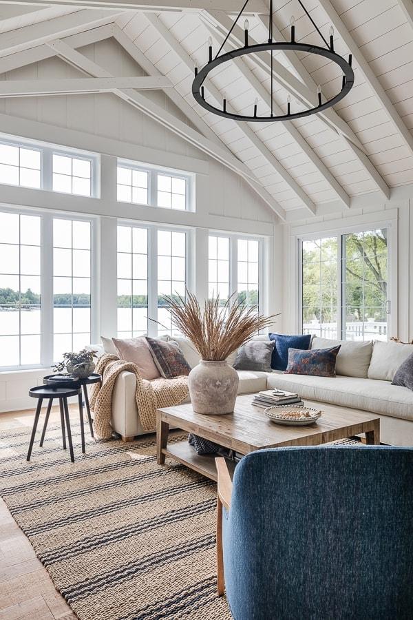 Fall decor Lake house living room