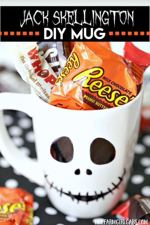 This DIY Jack Skellington Sharpie Mug is no tricks and all treats. This easy Nightmare Before Christmas craft makes a great party favor too! #Halloween #HalloweenCraft #DisneyCraft #JackSkellington #NightmareBeforeChristmas