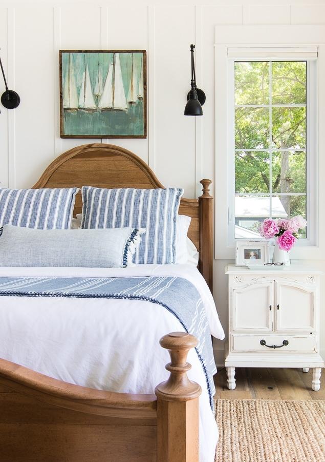 Coastal blue and white bedding