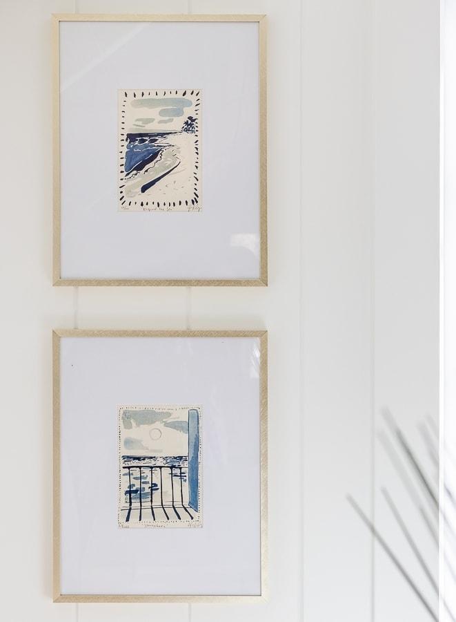 blue and white coastal art prints