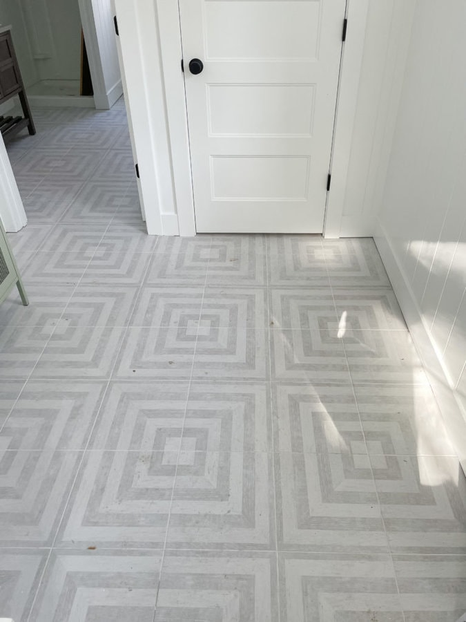 gray and white patterned pool house tile
