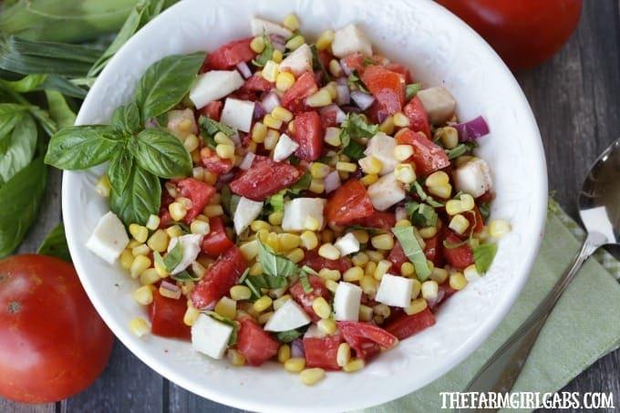 Farm Fresh Tomato, Corn And Basil Salad