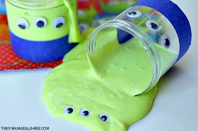 Ooooooh......Slime! This Glow In The Dark Toy Story Alien Slime will be a hit with the kids and Andy's toys. #slime #slimerecipe #WaltDisneyWorld #DisneyTips #toystoryland #ToyStory