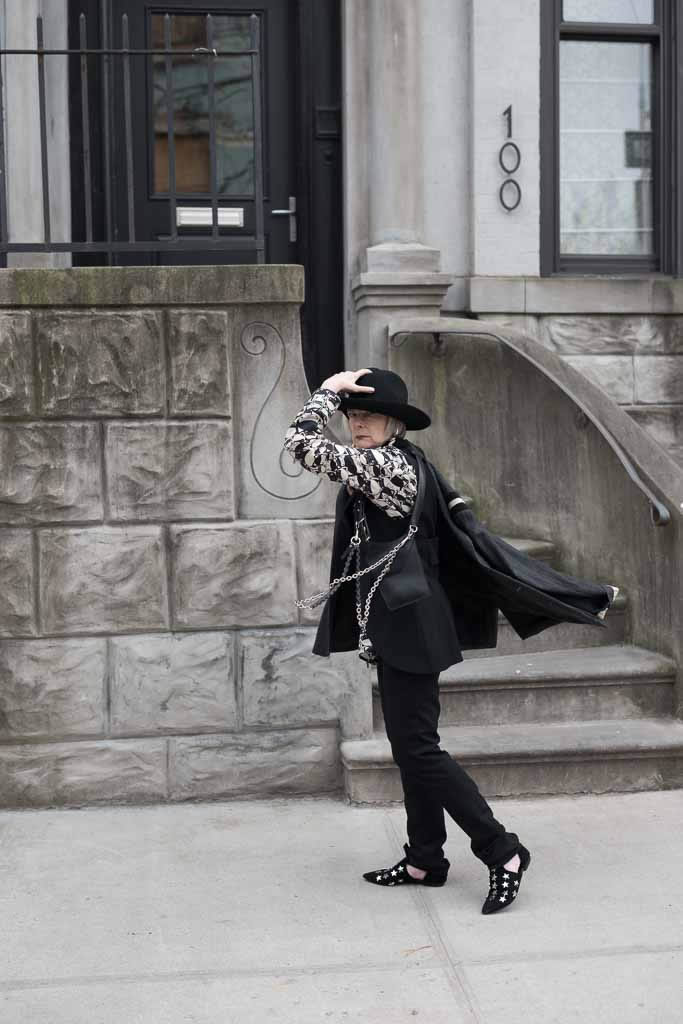 Lyn Slater, Accidental Icon wearing black and white | 40plusstyle.com