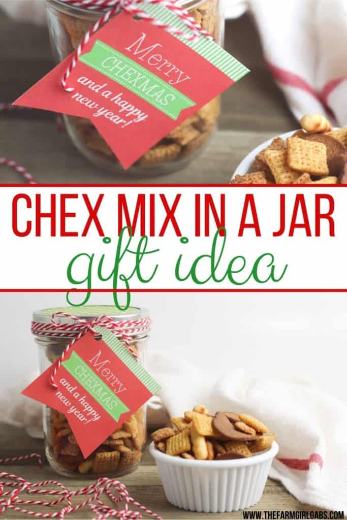 Need a quick food gift idea this holiday season? Grab a mason jar and make this easy Chex Mix Gift In A Jar for those on your gift list. #masonjargifts #giftinajar #giftidea