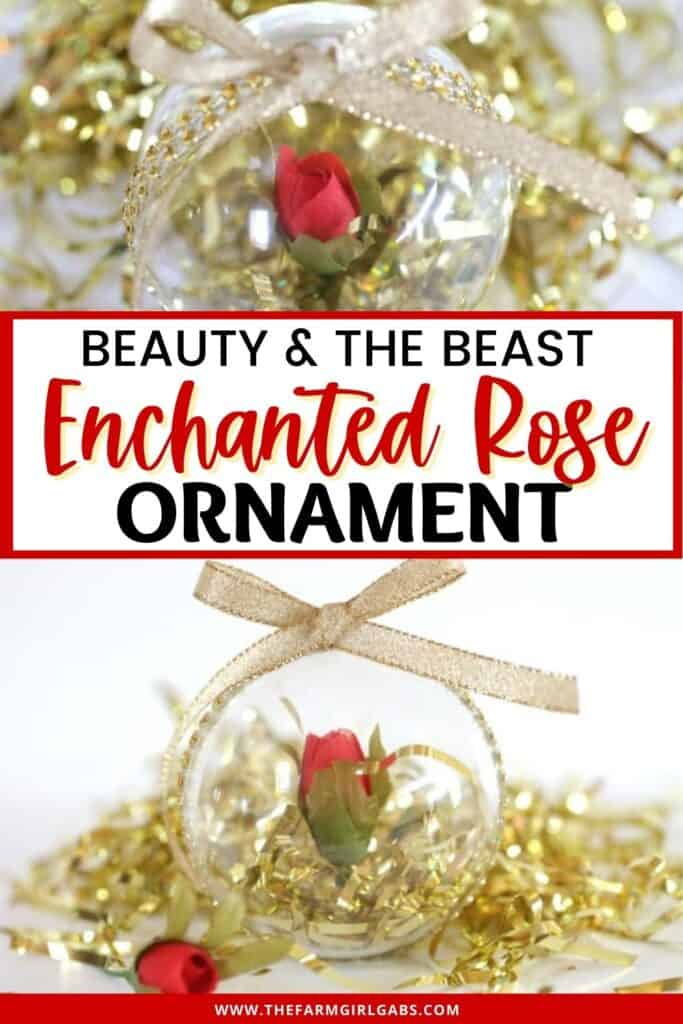 This simple DIY Beauty And The Beast Enchanted Rose Ornament is inspired by the classic Disney Beauty And The Beast movie. This is a fun Christmas craft for Disney fans of all ages. Disney Ornaments are fun to make at home. This DIY Disney ornament is an easy Disney Craft for kids. You kids will love a Disney Christmas and making this DIY Beauty An The Beast Enchanted Rose Ornament.